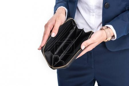 Photo for Cropped view of businesswoman holding empty wallet, isolated on white - Royalty Free Image