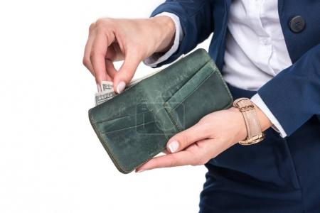 businesswoman holding wallet