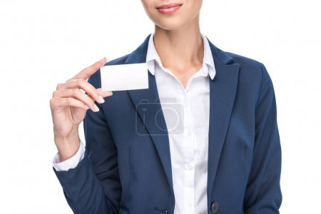 Businesswoman holding empty business card