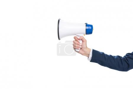 Photo for Cropped view of businesswoman holding megaphone, isolated on white - Royalty Free Image