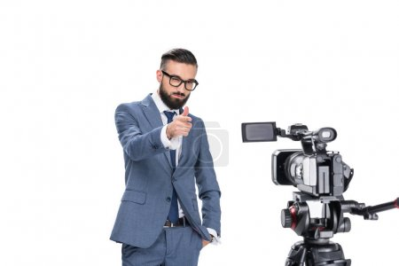 television reporter in front of camera