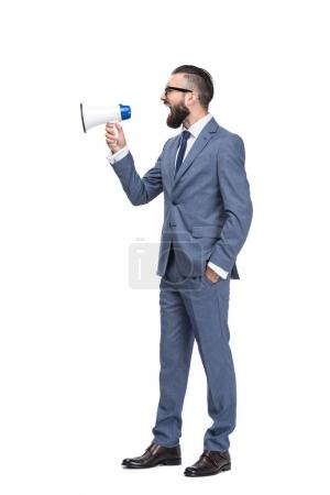 Photo for Handsome angry businessman screaming and holding megaphone, isolated on white - Royalty Free Image
