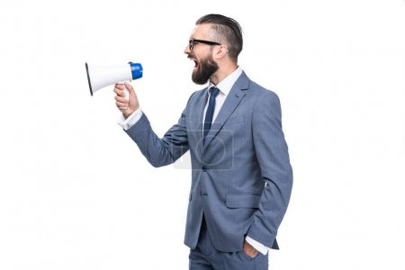 Photo for Handsome businessman screaming and holding megaphone, isolated on white - Royalty Free Image