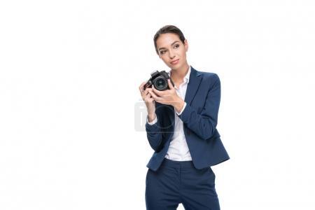 Photo for Female photographer taking photo on professional camera, isolated on white - Royalty Free Image