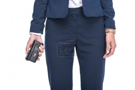 newscaster holding recorder