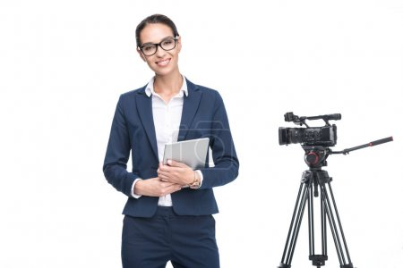 television reporter and video camera