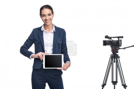 businesswoman presenting digital tablet