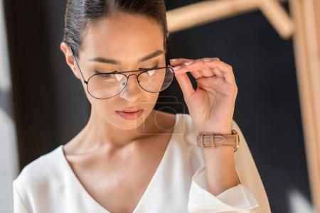 stylish woman in eyeglasses