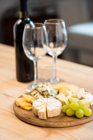 various cheese types and wine