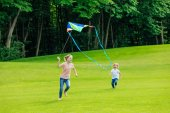 siblings playing with kite in park
