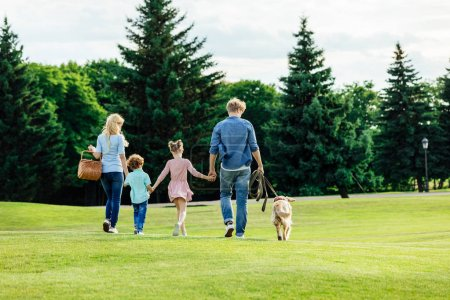 Photo for Back view of family with two kids holding hands and walking with golden retriever dog in park - Royalty Free Image