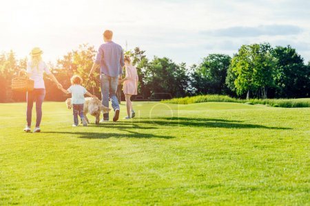 Photo for Back view of family with pet walking on green meadow in park - Royalty Free Image