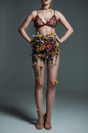 Model posing in floral skirt
