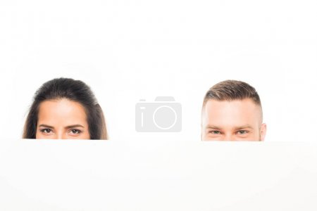 Couple looking out of banner