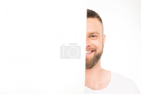 man looking out of blank banner