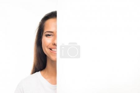 woman looking out of blank banner