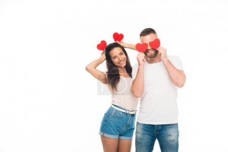 couple with red hearts