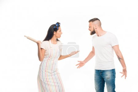 Angry housewife having conflict with husband