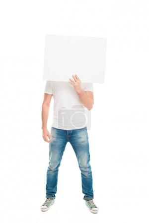 Handsome man with blank banner