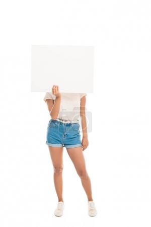 Attractive woman with blank banner