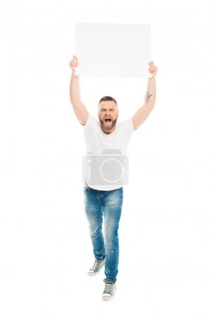 Photo for Aggressive bearded man holding blank banner above head, isolated on white - Royalty Free Image