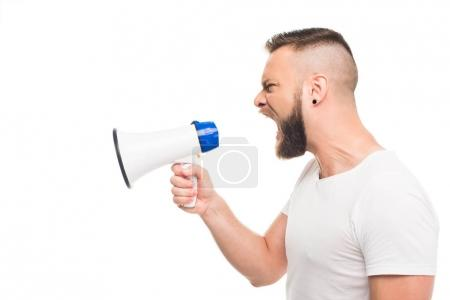 Photo for Portrait og young aggressive man using megaphone, isolated on white - Royalty Free Image