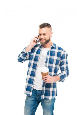 Bearded man talking on phone