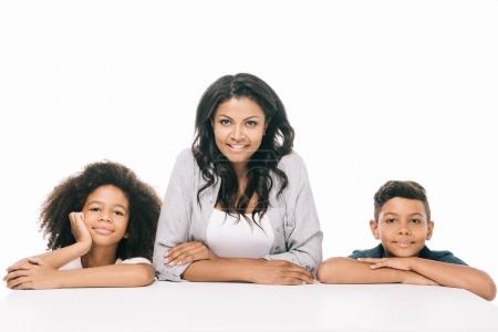 happy african american mother with kids