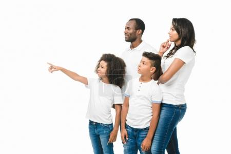 african american family pointing away
