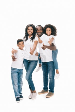 African american family showing thumbs up