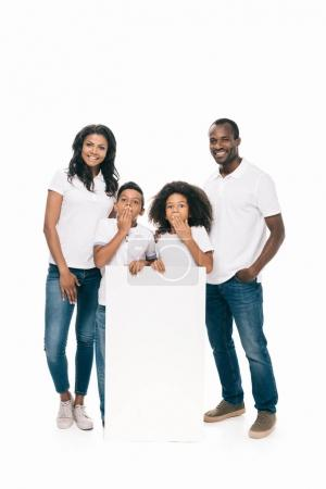 happy african american family with banner