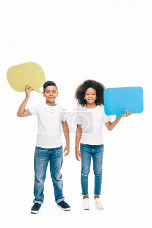 African american kids with speech bubbles
