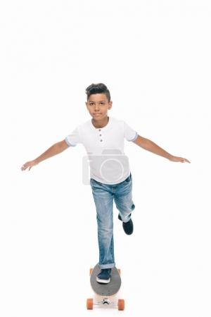 African american boy with skateboard