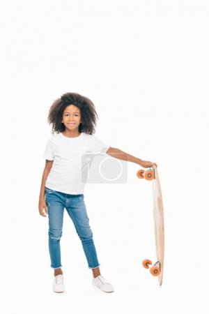 african american girl with skateboard