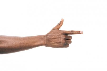 Photo for Cropped shot of african american person pointing away with finger isolated on white - Royalty Free Image