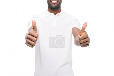 african american man showing thumb up