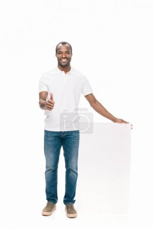 african american man with banner
