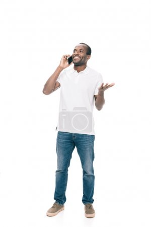 African american man talking on smartphone