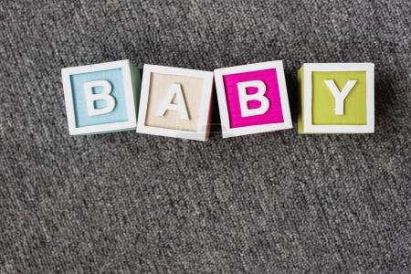 Word baby made of letter cubes