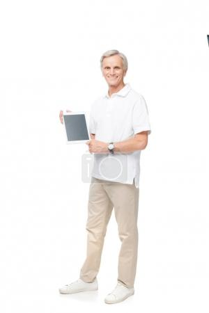 man presenting digital tablet