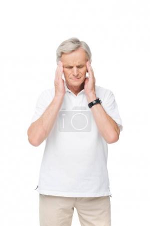 Tired senior man with headache