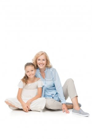 smiling woman and granddaughter