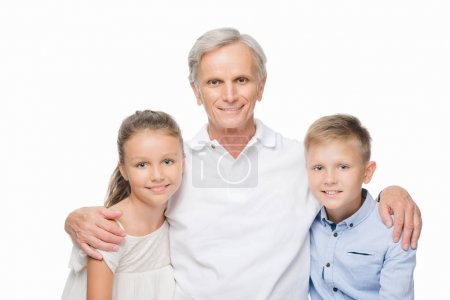 happy grandfather with grandchildren