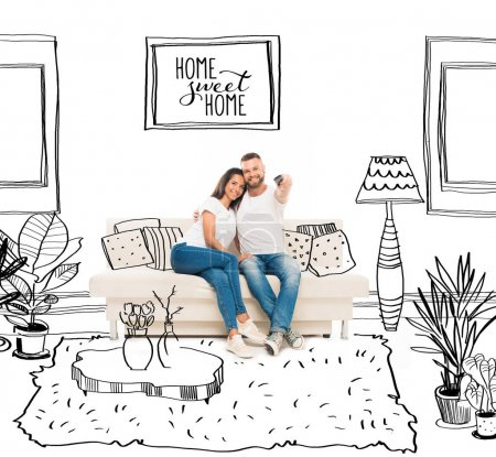 Photo for Young attractive couple watching tv and using remote control in cartoon flat - Royalty Free Image