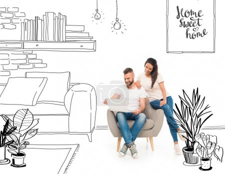 Photo for Young attractive couple using laptop in cartoon flat - Royalty Free Image