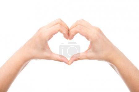 Photo pour Plan recadré de mage cardiaque sur les mains isolées sur blanc - image libre de droit