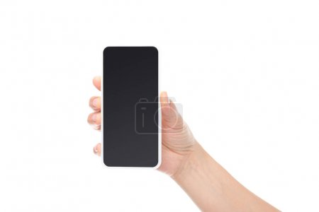 Photo for Cropped shot of hand showing smartphone with blank screen isolated on white - Royalty Free Image