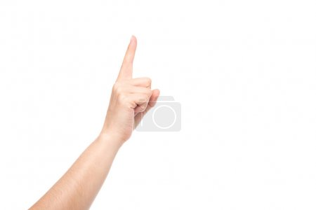 Photo for Partial view of hand pointing up isolated on white - Royalty Free Image