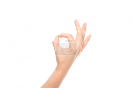 Photo for Partial view of hand showing ok sign isolated on white - Royalty Free Image