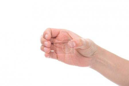Photo for Cropped shot of hand pretending holding glass isolated on white - Royalty Free Image
